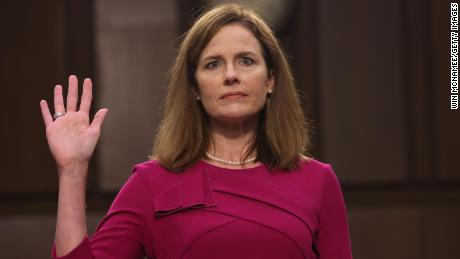 Supreme Court nominee Judge Amy Coney Barrett is sworn into her Senate Judiciary Committee confirmation hearing on Capitol Hill on October 12, 2020 in Washington, DC. Barrett was nominated by President Donald Trump to fill the vacancy left by Justice Ruth Bader Ginsburg who passed away in September.