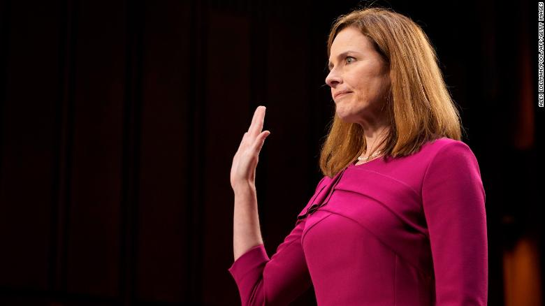 Supreme Court nominee Judge Amy Coney Barrett is sworn into her Senate Judiciary Committee confirmation hearing on Capitol Hill on October 12, 2020 in Washington, DC.