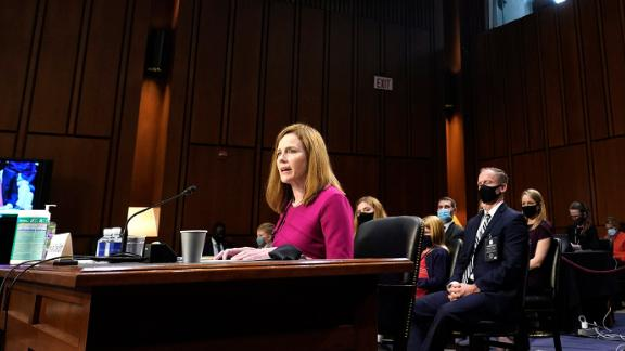 """Barrett's opening statement focused on how her mentor, the late Justice Antonin Scalia, influenced her career and the opportunity to be nominated to the Supreme Court. """"His judicial philosophy was straightforward: A judge must apply the law as written, not as the judge wishes it were,"""" she said on Monday, October 12. """"Sometimes that approach meant reaching results that he did not like. But as he put it in one of his best known opinions, that is what it means to say we have a government of laws, not of men."""""""
