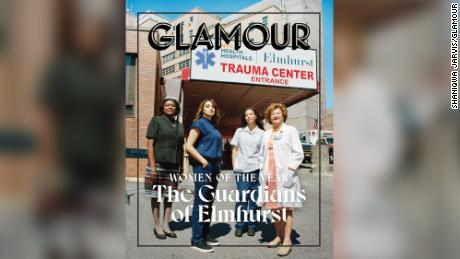 "The essential workers from Elmhurst Hospital are featured together on a cover titled, ""The Guardians of Elmhurst."" (Photo By Shaniqwa Jarvis)"