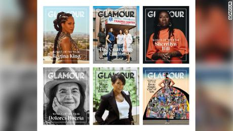 Each of the six groups of honorees are featured on their own digital covers. (Regina King: Emman Montalvan, Keisha Lance Bottoms: Ari Skin, The Guardians of Elmhurst: Shaniqwa Jarvis, Sherrilyn Ifill: Rog & Bee Walker, Dolores Huerta: Nolwen Cifuentes.)