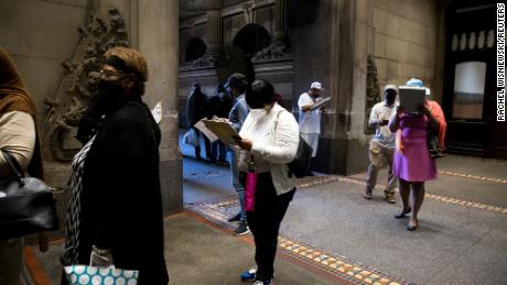Voters are lining up to vote this month at the Philadelphia City Hall.