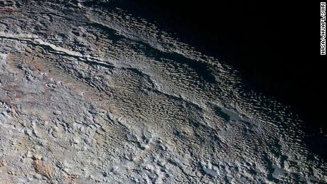This New Horizons image shows the bladed terrain of Tartarus Dorsa.