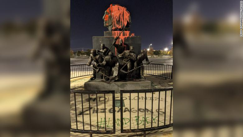 Chicago Blackhawks statue vandalized with paint and an indigenous rights phrase