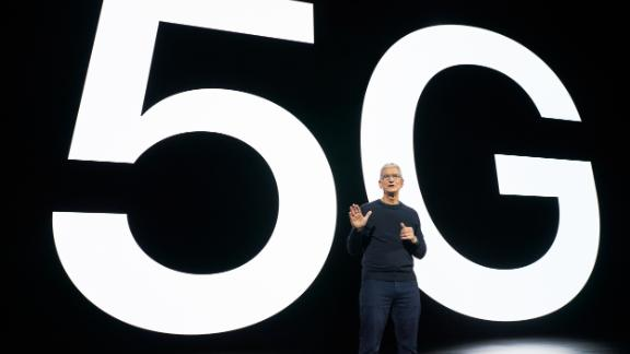 CUPERTINO, CALIFORNIA - OCTOBER 13, 2020: Apple CEO Tim Cook talking about the value of 5G for customers during a special event at Apple Park in Cupertino, California. (Photo by Brooks Kraft/Apple Inc.)