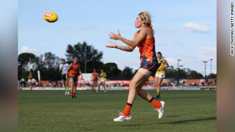 Barclay marks the ball during the round five AFLW match between the Giants and the Richmond Tigers in March.