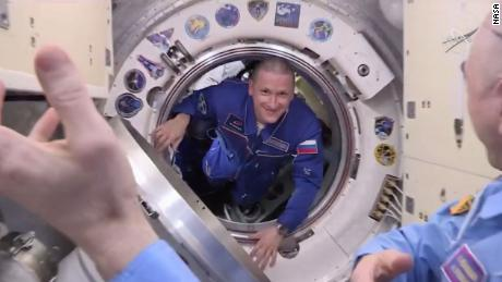 Russian cosmonaut Sergey Kud-Sverchkov enters the International Space Station for the first time.