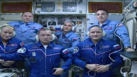 The International Space Station's current crew welcomed the new crew Wednesday.