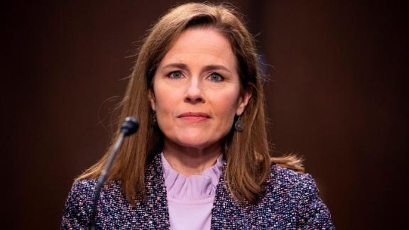 Amy Coney Barrett attends her confirmation hearing on October 14.