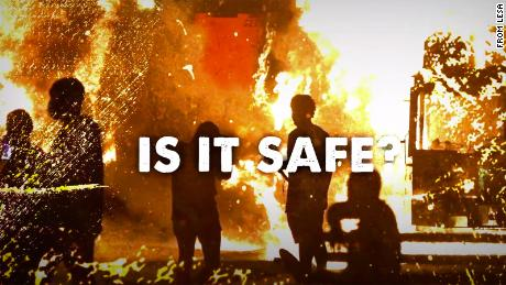 Videos on Law Enforcement for a Safer America's website show cities in flames and say that officers have been injured during what the group describes as riots.