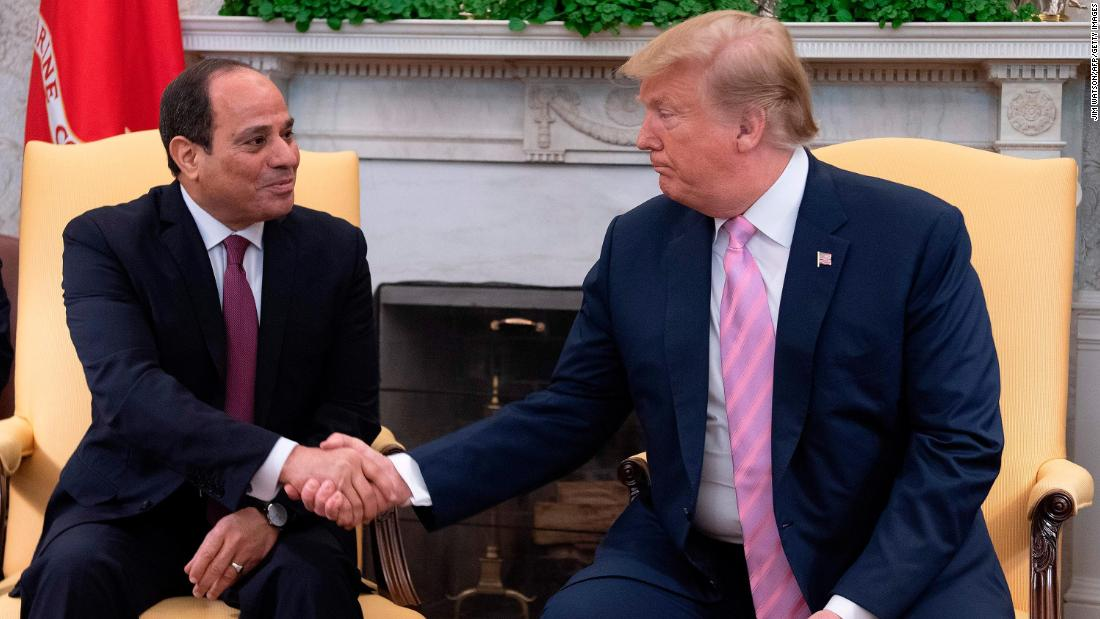 President Donald Trump shakes hands during a meeting with Egyptian President Abdel Fattah el-Sisi in the Oval Office at the White House in Washington, DC, on April 9, 2019.