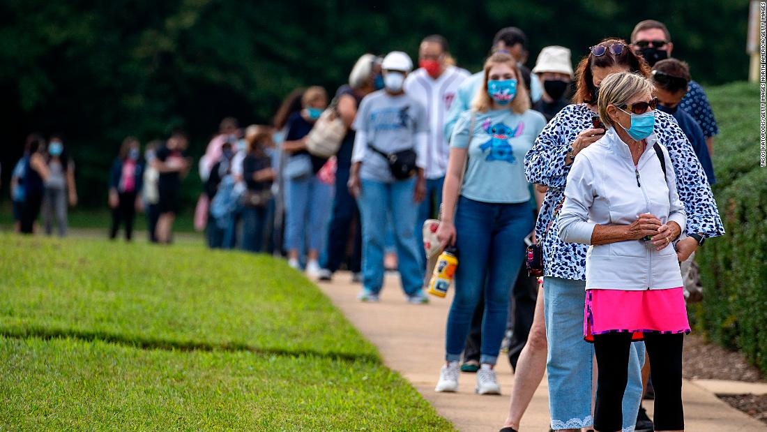 Early voters wait hours in line as states see record turnout