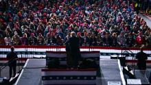 President Donald Trump speaks during a campaign rally at John Murtha Johnstown-Cambria County Airport, Tuesday, Oct. 13, 2020, in Johnstown, Pa. (AP Photo/Evan Vucci)