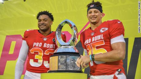 Jamal Adams, left, of the New York Jets and Patrick Mahomes of the Kansas City Chiefs were the co-MVP's of the 2019 NFL Pro Bowl in Orlando, Florida.