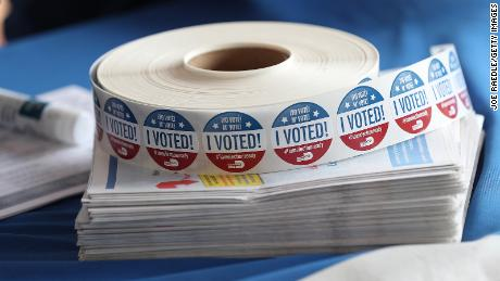 DORAL, FLORIDA - OCTOBER 14: I voted stickers are seen as people drop off their Vote-by Mail ballots at the Miami-Dade Election Department headquarters on October 14, 2020 in Doral, Florida. More than 1.9 million Floridians had voted by mail  according to statistics posted online by the Florida Division of Elections. The voters were casting their ballots ahead of the November 3rd election where President Donald Trump and Democratic presidential candidate Joe Biden are facing off against each other. (Photo by Joe Raedle/Getty Images)