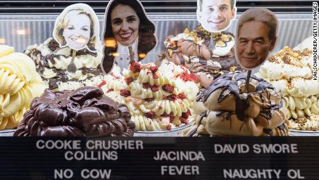 Ice cream flavors named after National Party leader Judith Collins, New Zealand Prime Minister Jacinda Ardern, ACT leader David Seymour and NZ First leader Winston Peters are seen at Rollickin' Gelato on October 14, 2020, in Christchurch, New Zealand.