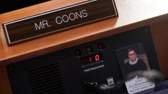 A photo of the late Ruth Bader Ginsburg is seen at the seat of US Sen. Chris Coons, a Democrat from Delaware.