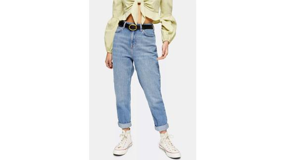 Topshop Petite Mid Stone Mom Jeans