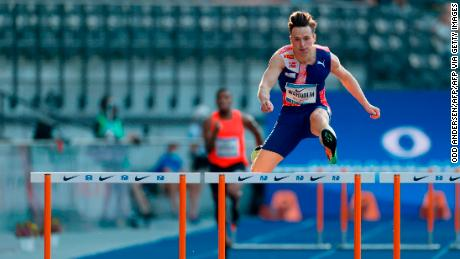 Warholm clears a hurdle while competing in Berlin earlier this year.
