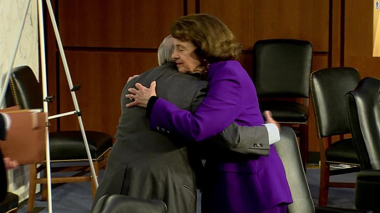 top democrats refuse to stand by dianne feinstein after she praised gop handling of barrett hearings cnnpolitics democrat and republican senators maskless hug stirs outrage