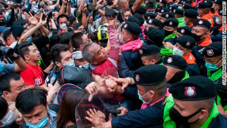 Protesters clashed with riot police during a demonstration in Bangkok, Thailand.