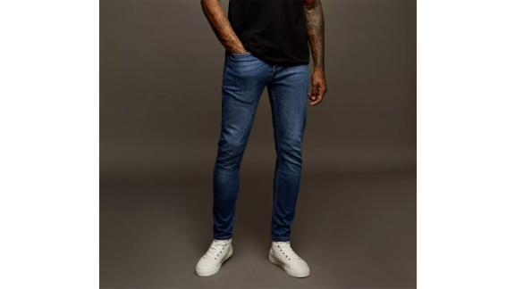 Topman Bright Blue Wash Stretch Skinny Jeans