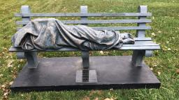 A realistic 'Homeless Jesus' statue sparks conversation — and a visit from police