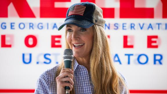 DALLAS, GA - OCTOBER 15: Sen. Kelly Loeffler (R-GA) speaks after being endorsed by Georgia Republican House candidate Marjorie Taylor Greene during a joint press conference on October 15, 2020 in Dallas, Georgia. Greene has been the subject of some controversy recently due to her support for the right-wing conspiracy group QAnon. (Photo by Dustin Chambers/Getty Images)