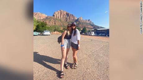 Kailey Chambers and her mother, Holly Courtier, pose at Zion National Park last month.