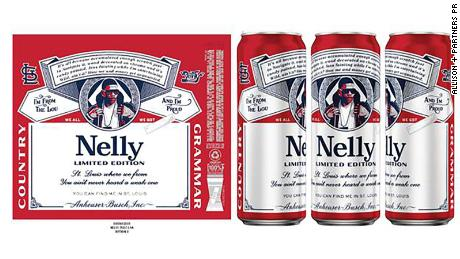 Each can has a red and white label with references to Nelly and St. Louis.