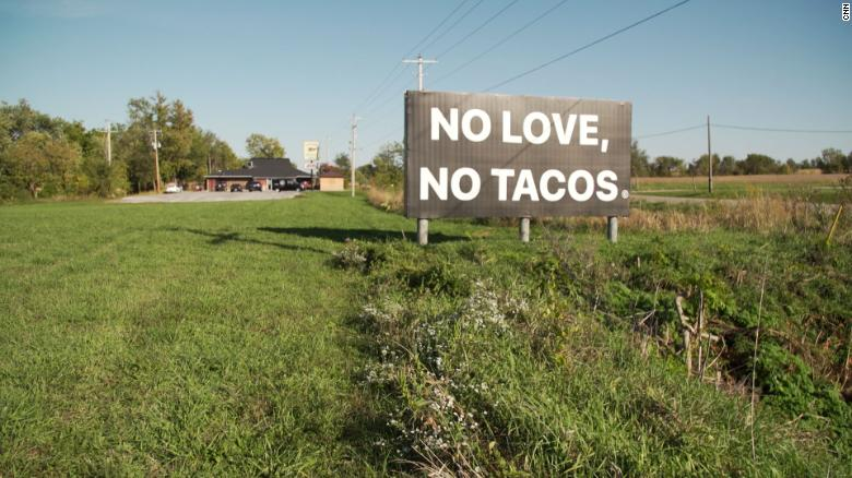 """No Love, No Tacos"" is the accidental slogan of a Mexican restaurant in Iowa after a social media post by its owner went viral."