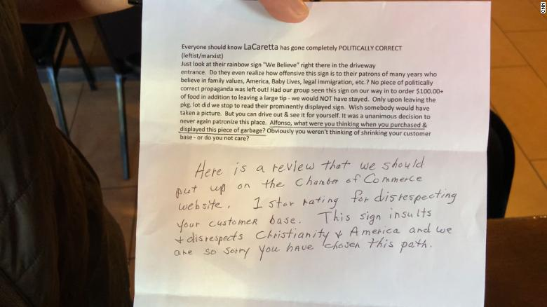 "The anonymous letter a customer sent to La Carreta owner Alfonso Medina that led to the ""No Love, No Tacos"" slogan."