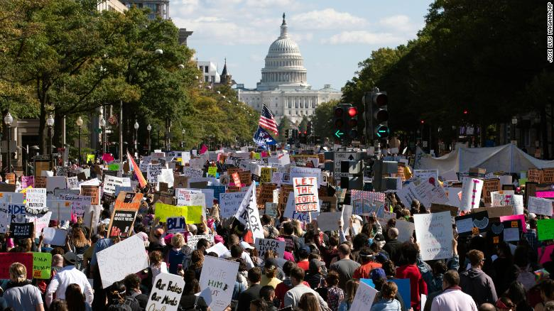 Crowds gather for Women's March to protest Trump and Supreme Court nominee