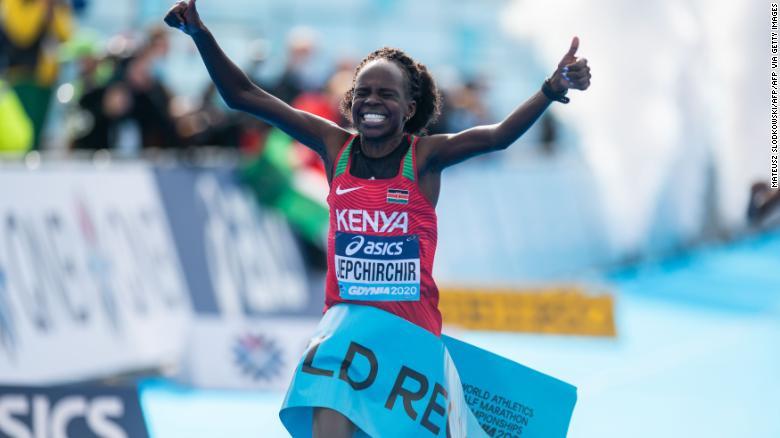 Kenya's Peres Jepchirchir breaks own world record at World Athletics Half Marathon Championships
