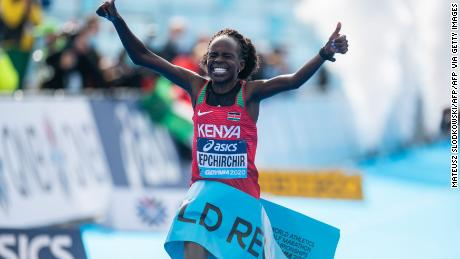 Peres Jepchirchir of Kenya celebrates after crossing the line in record time.