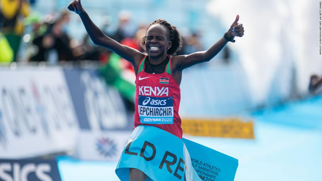 Kenya's Peres Jepchirchir breaks own half marathon world record