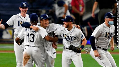 The Tampa Bay Rays celebrate the victory against the Houston Astros in Game 7 of the 2020 America League Championship Series at Petco Park.