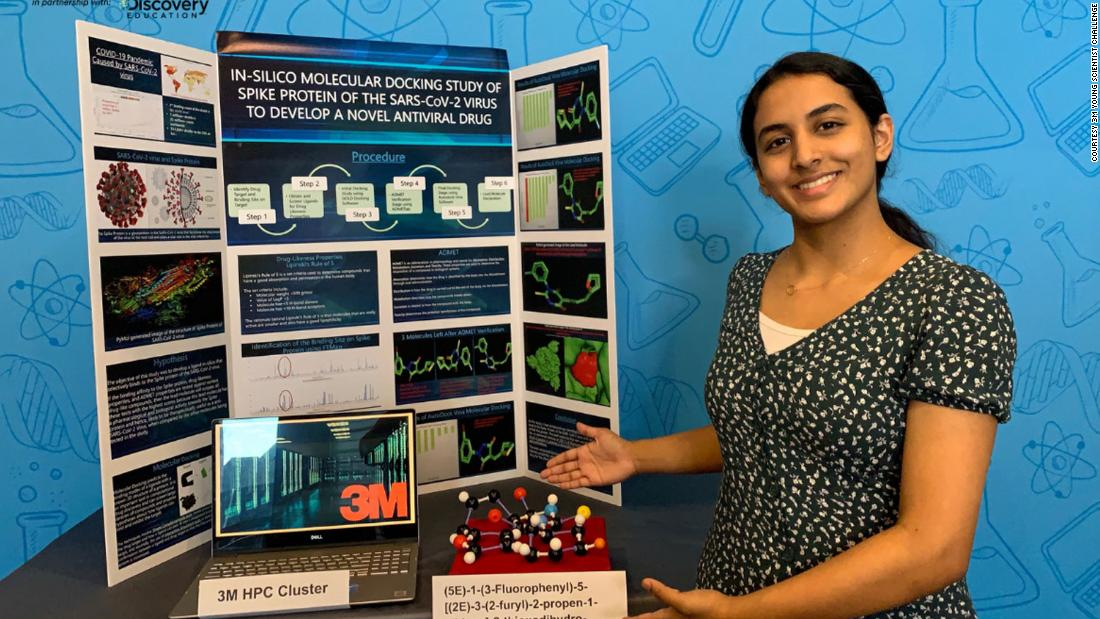 A 14-year-old has won $25,000 for a discovery that could provide a potential therapy to Covid-19.  Anika Chebrolu's invention uses in-silico methodology to discover a lead molecule that can selectively bind to the spike protein of the SARS-CoV-2 virus.