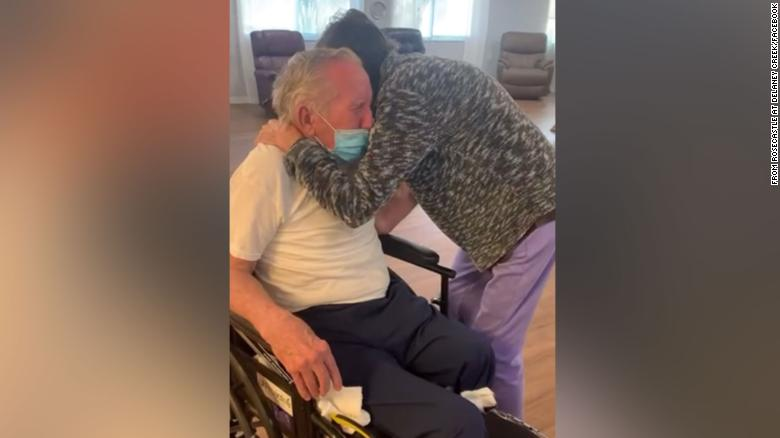 A tearful reunion caught on video as a couple reunites after being separated over 200 days due to the pandemic