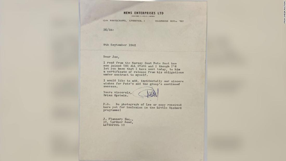 Letter from Beatles' manager about sacking drummer Pete Best up for auction