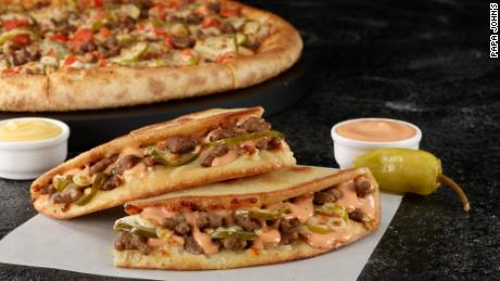 Papa John's new cheeseburger-themed items.