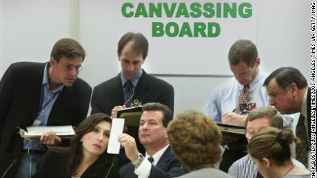 The Miami--Dade Canvassing Board and attorneys reviewing ballots during the 2000 Florida recount. (Mark Boster/Los Angeles Times via of Getty Images/Courtesy of HBO)
