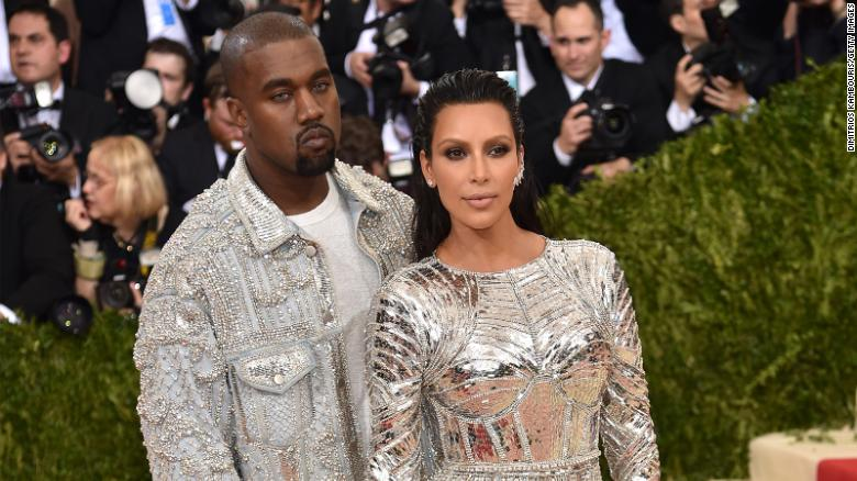 Kanye West and Kim Kardashian at the Costume Institute Gala at Metropolitan Museum of Art on May 2, 2016 in New York City.