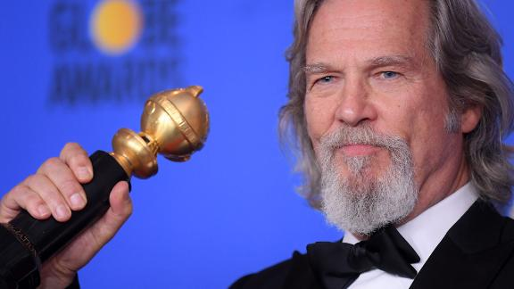 Bridges holds his Cecil B. DeMille Award at the 76th Annual Golden Globe Awards in Los Angeles in January 2019.