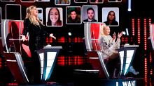 """(From left) Kelly Clarkson and Gwen Stefani, joined by a virtual audience, cheered during the so-called """"blind auditions"""" of """"The Voice."""""""