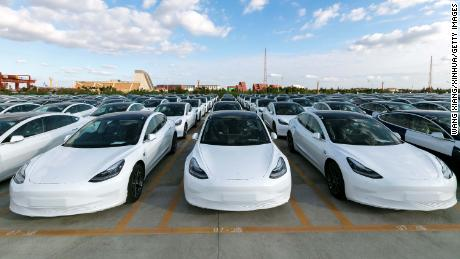 Tesla's Chinese-made Model 3 vehicles seen on Monday.