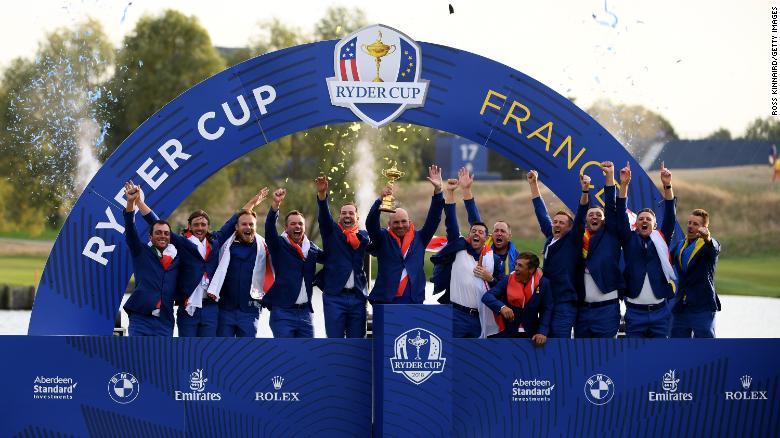 Tim Eropa merayakan setelah memenangkan Piala Ryder pada 2018.