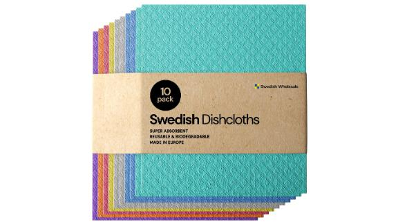 Swedish Dishcloth Cellulose Sponge Cloths, 10-Pack