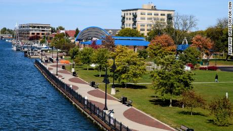 The Saginaw River is seen passing through downtown Bay City.