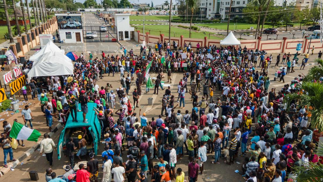 Protesters gather outside the Alausa Secretariat in Ikeja, Nigeria, on October 20.